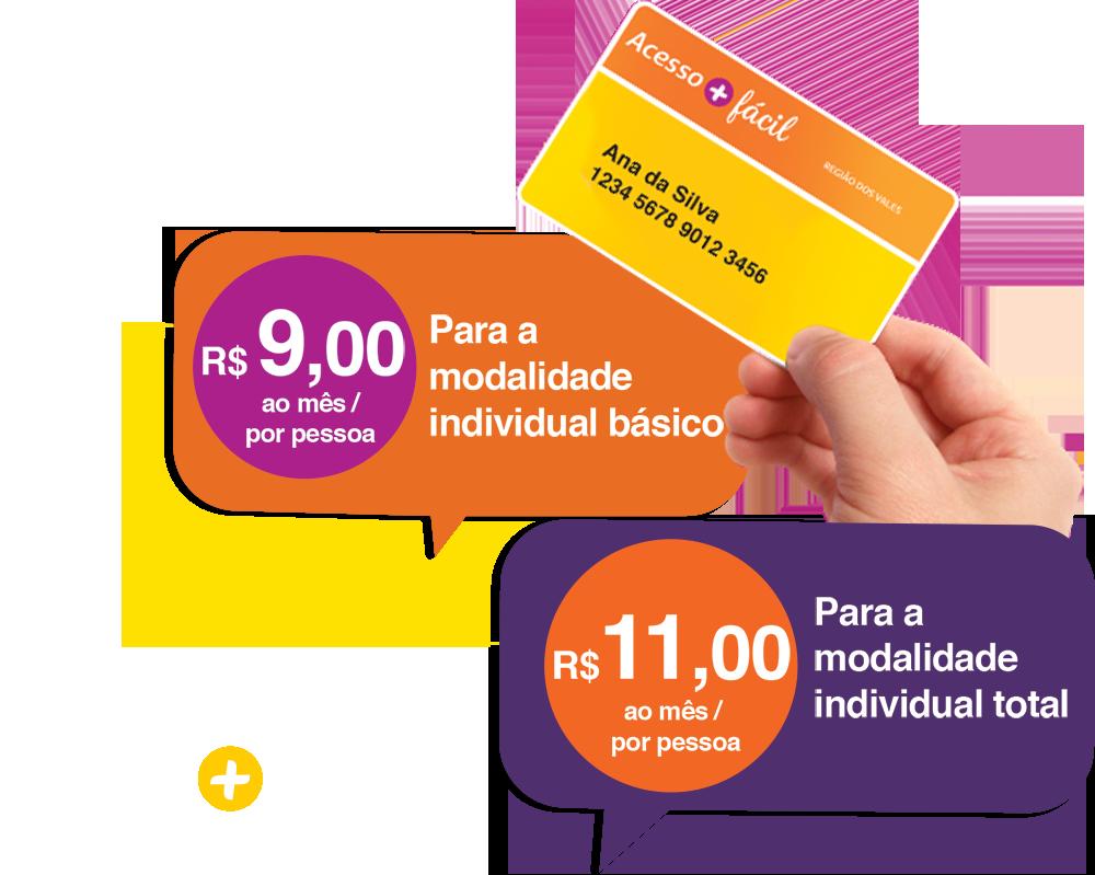 Básico: R$ 9,00/pessoa - Individual Total: R$ 11,00/pessoa